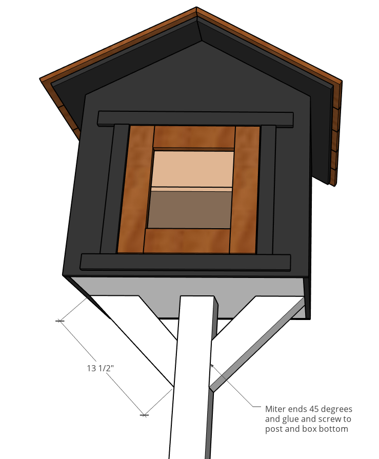 Diagram of how to attach post supports to community donation box
