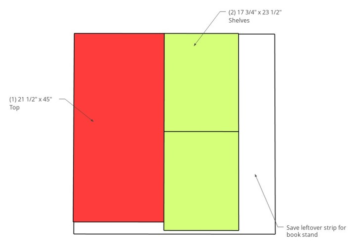 Plywood cut diagram for top and shelf pieces