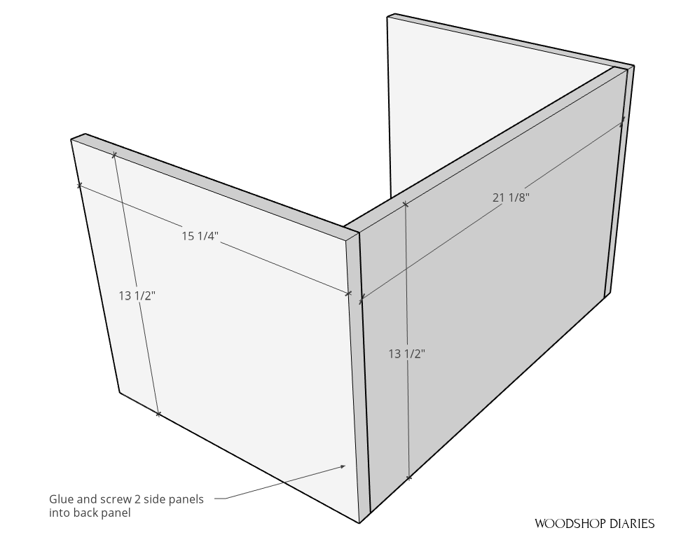 Dimensions of side and back panels for storage cart box