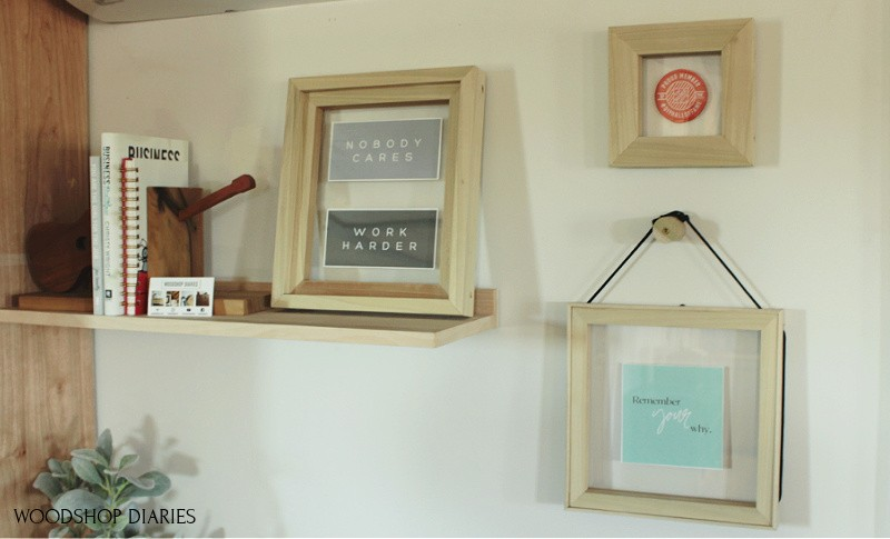 3 Easy DIY floating picture frame designs hanging on home office wall