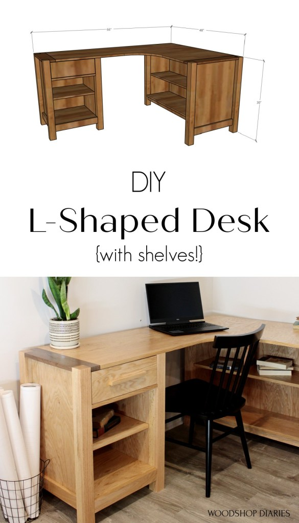 Pinterest collage image with 3D diagram of desk and actual desk set up in office