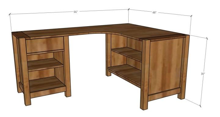 Corner L shaped desk overall dimensions