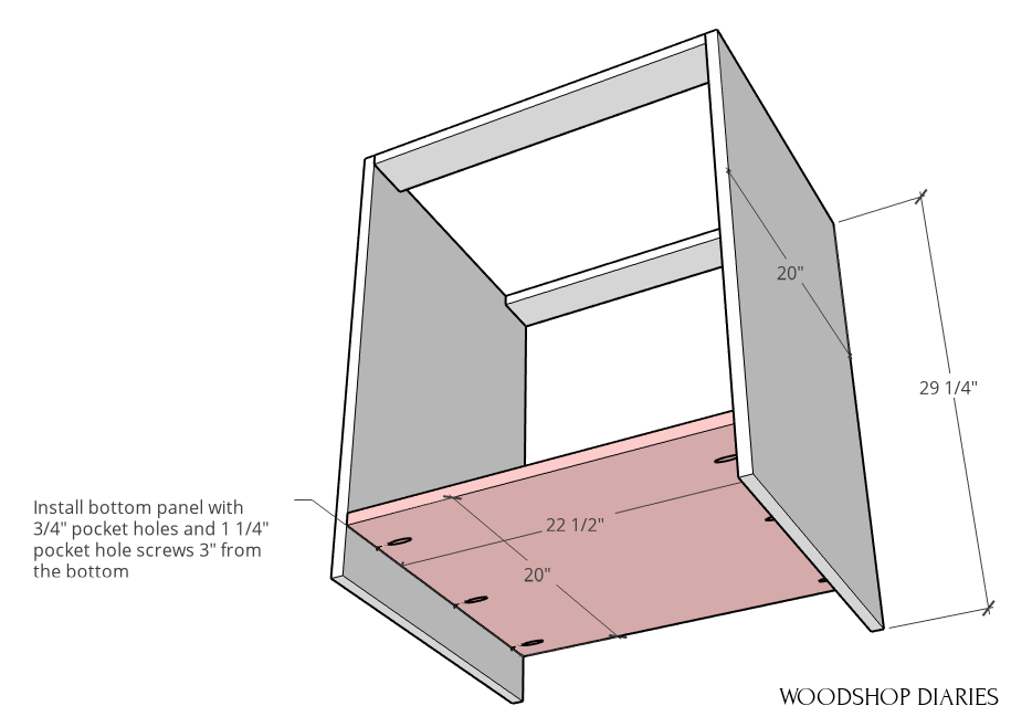 Bottom panel of modular desk cabinet assembly diagram