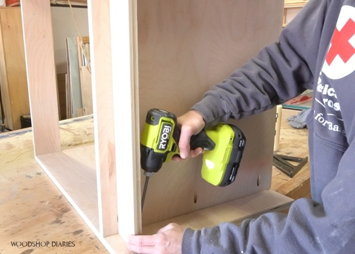 Using Ryobi ONE+ HP driver to assemble modular cabinet for filing cabinet desk