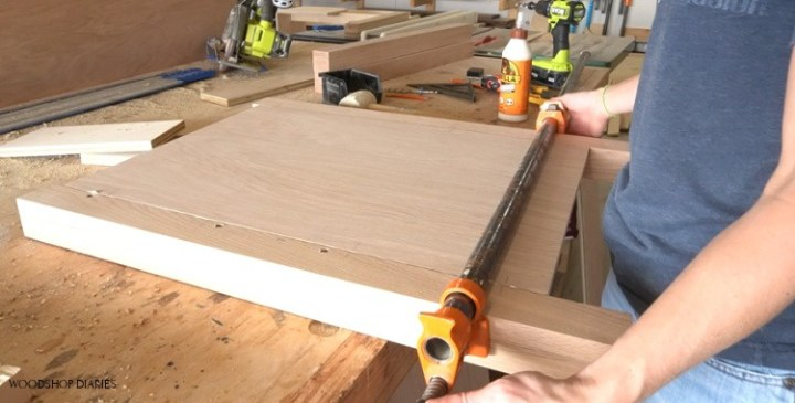 Gluing up right L shaped desk cabinet side panel