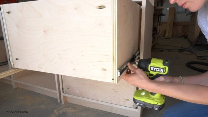 Ryobi ONE+ HP Driver installing filing cabinet drawers