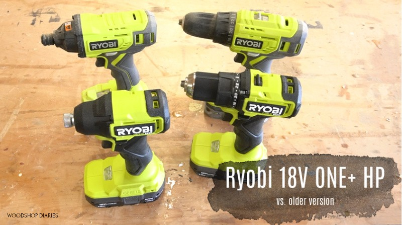 Old vs New Ryobi ONE+ HP drill driver sets side by side on workbench