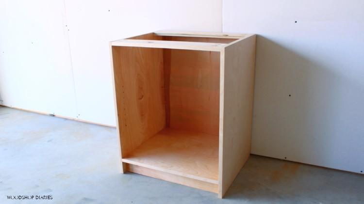 Unfinished modular file cabinet desk assembled