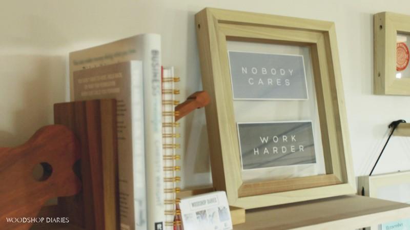 Easy DIY floating picture frame sitting on shelf