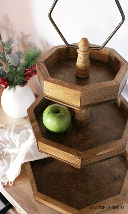 How to Build a 3 tiered wooden tray with scrap wood finished with dark stain and a ring on the top