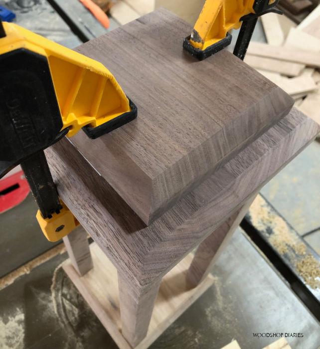 Clamp top plate onto scrap wood lantern