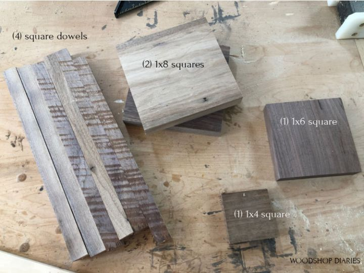 Wood cut list pieces used to build easy DIY wooden lantern