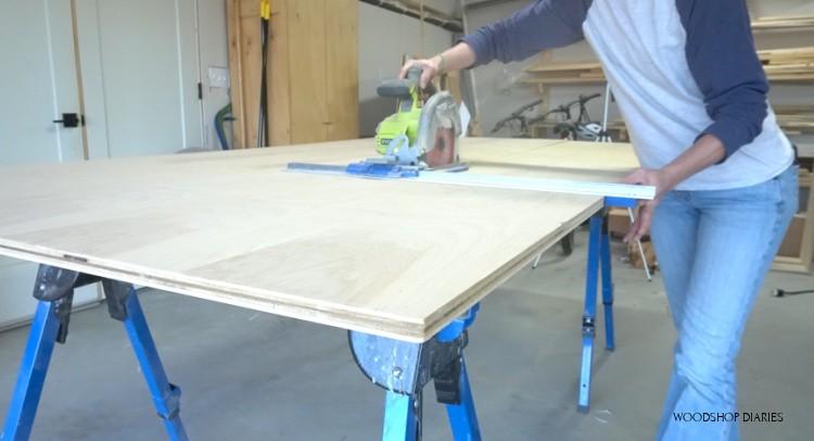 Using kreg rip cut to cut down plywood sheet