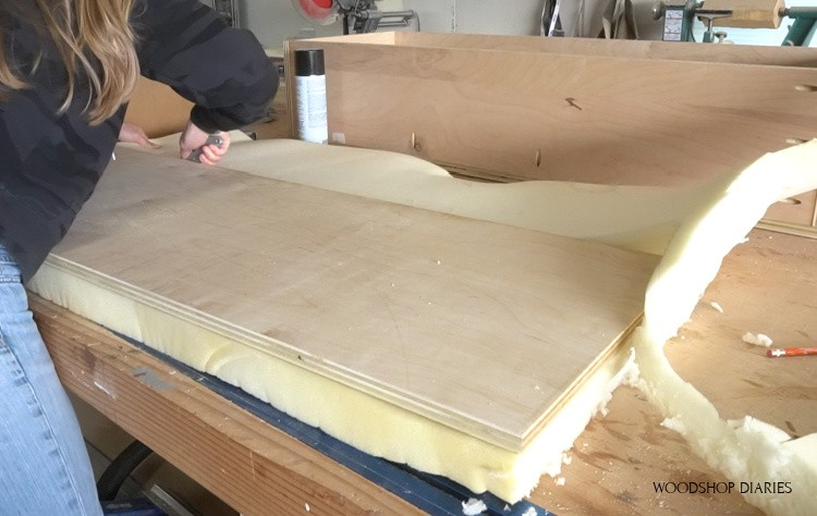 Cutting foam to fit seat top panel
