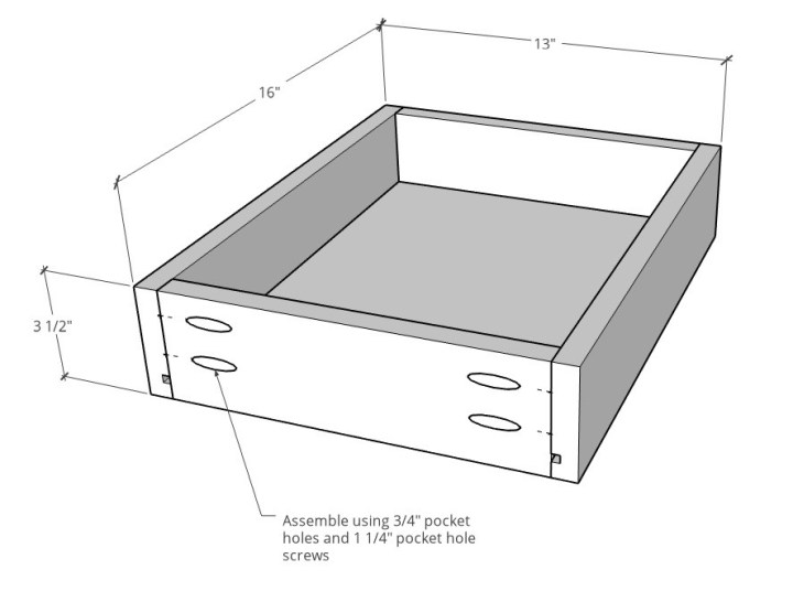 Overall drawer dimension 3d diagram