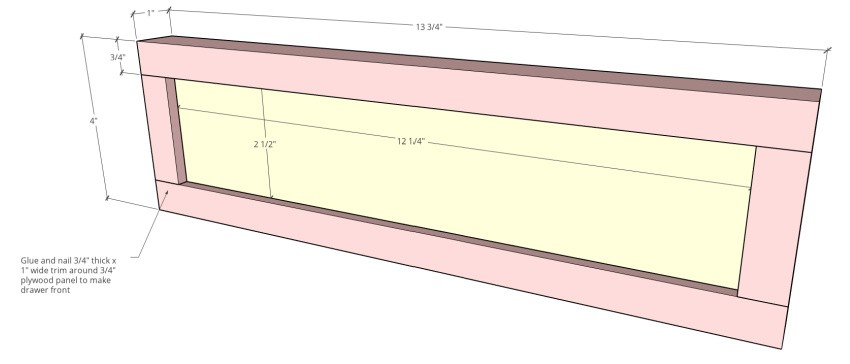 Drawer front dimensional diagram
