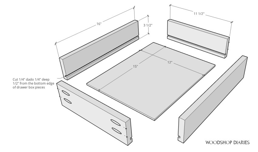 exploded view of small drawer for end table