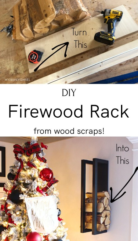 Pinterest collage of materials used and finished DIY firewood rack hanging on wall