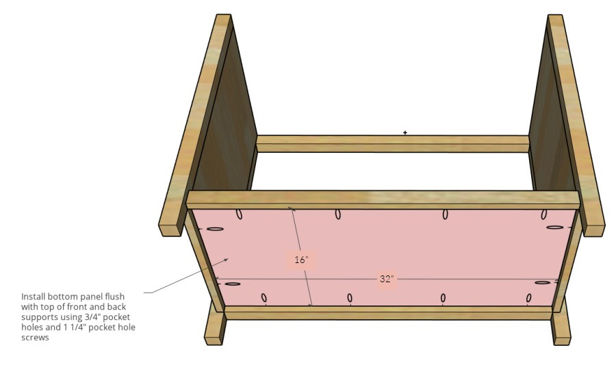 Bottom panel installed with pocket holes 3D diagram