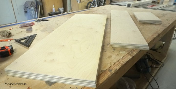 pieces cut to size to assemble storage bench