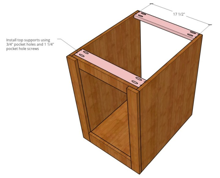 Top support diagram of end table dog crate cabinet