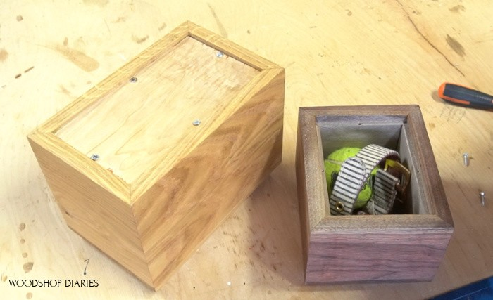 Pet Keepsake box upside down with plywood bottom removed