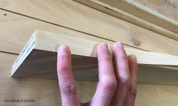 Place edge banding at edge of plywood piece