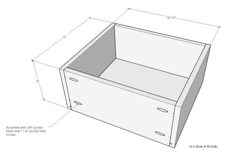 Overall dimensions of drawer box assembled