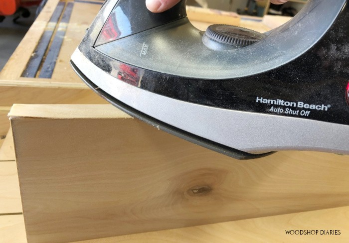 Using an iron to cover plywood edges with iron on edge banding