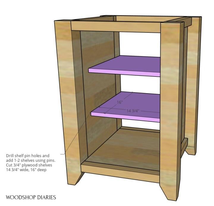 Shelves installed into left side computer desk cabinet