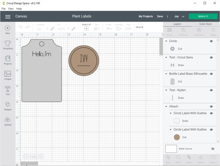 Cricut Joy Design Space screenshot of design used to create plant tags