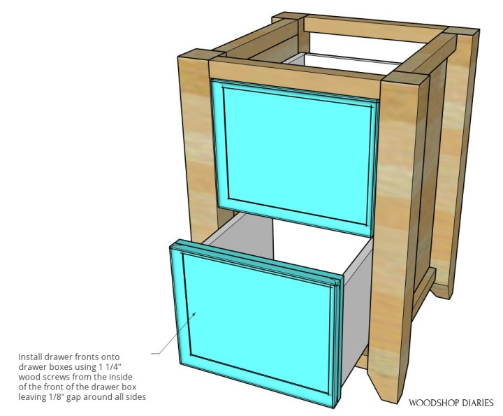 Drawer fronts installed onto drawer boxes in computer desk cabinet