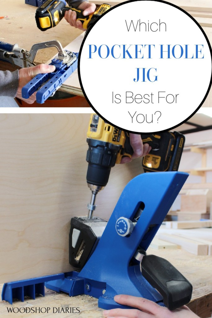 "Pinterest collage image showing the Kreg 320 pocket hole jig at the top and the Kreg 720 pocket hole jig at the bottom with text ""which pocket hole jig is best for you?"""
