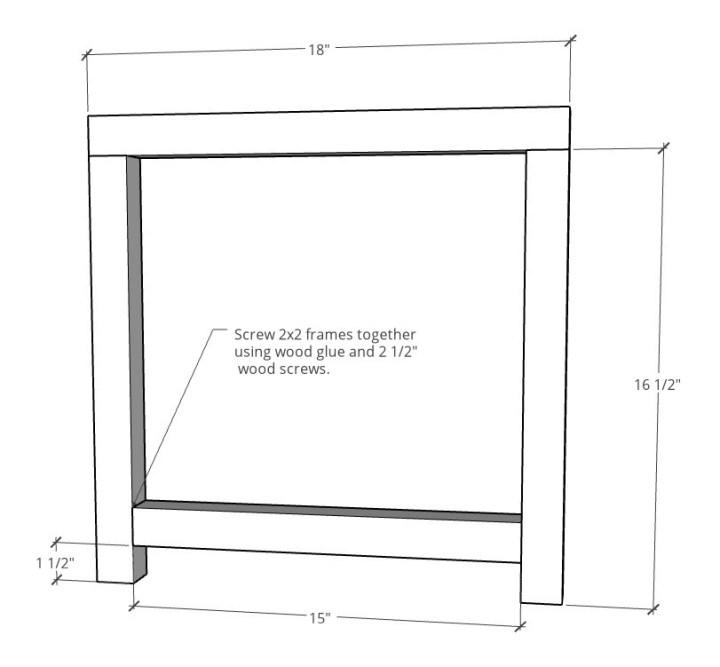 End table side frame dimensional diagram