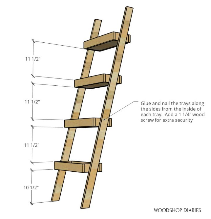"""Dimensional diagram of plant ladder shelf--trays spaced 11 1/2"""" apart starting 10 1/2"""" from bottom"""