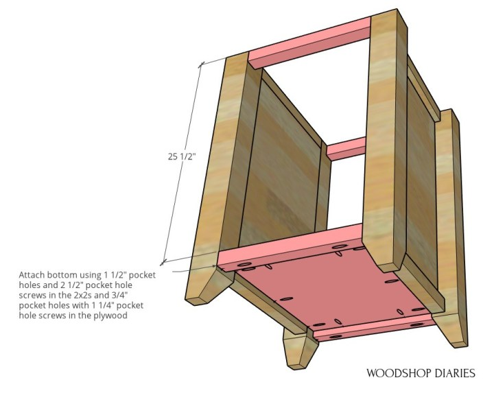Diagram of desk cabinet with solid bottom installed