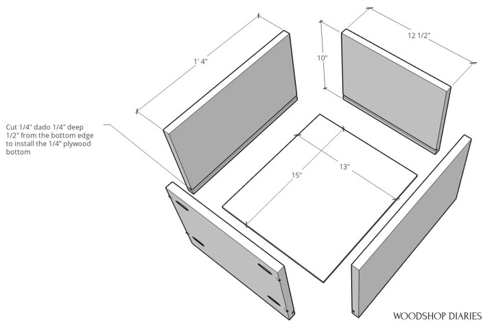 drawer box exploded to show dimensions of each piece