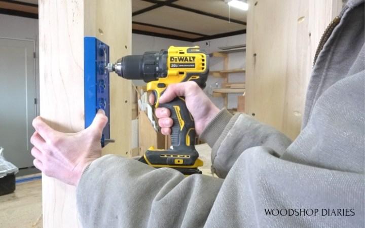 Shara Woodshop Diaries drilling shelf pin holes