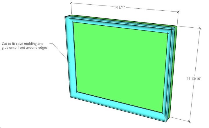 Drawer front overall dimension diagram