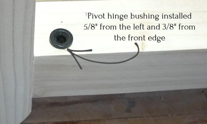 Pivot hinge bushing installed into cabinet