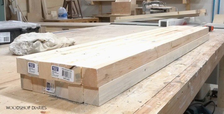 two sets of panels made of 2x2s glued together on workbench