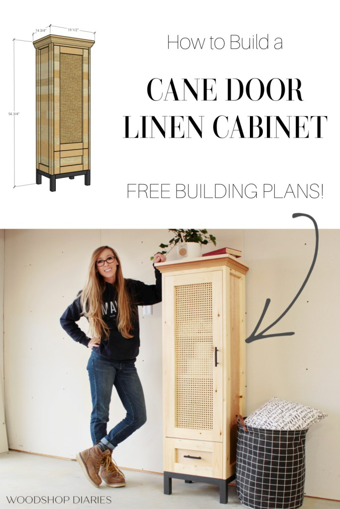 Pinterest collage of cane door cabinet overall dimensions at top and Shara standing next to finished cabinet below