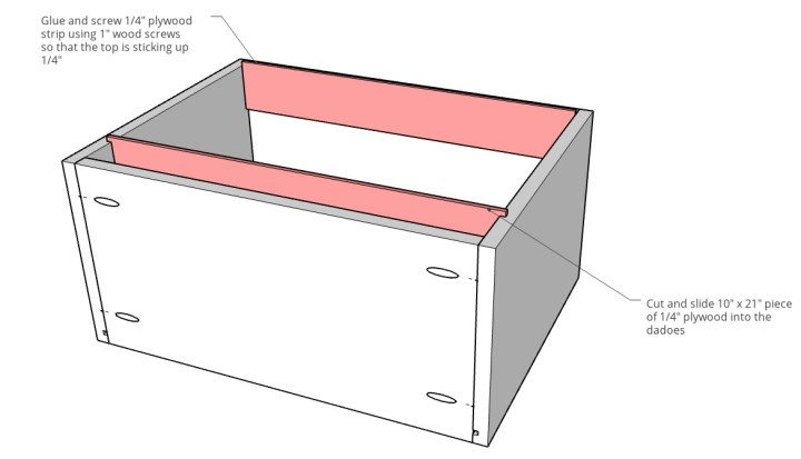 Diagram showing plywood file folder rails installed into drawer box