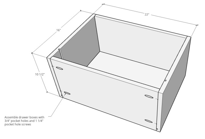 Overall dimensions of drawer boxes for file cabinet