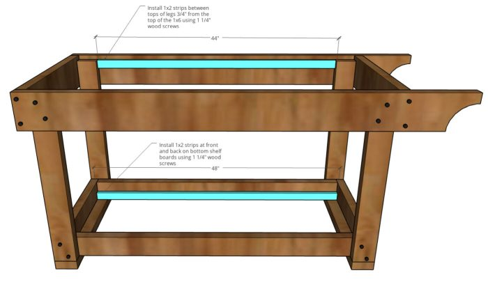 graphic showing furring strips attached for top and bottom grill cart slats