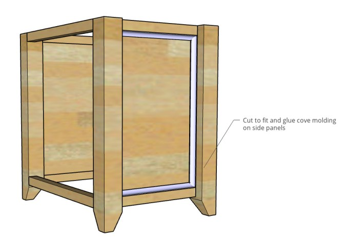 Diagram showing where to attach cove molding around side panels of file cabinet