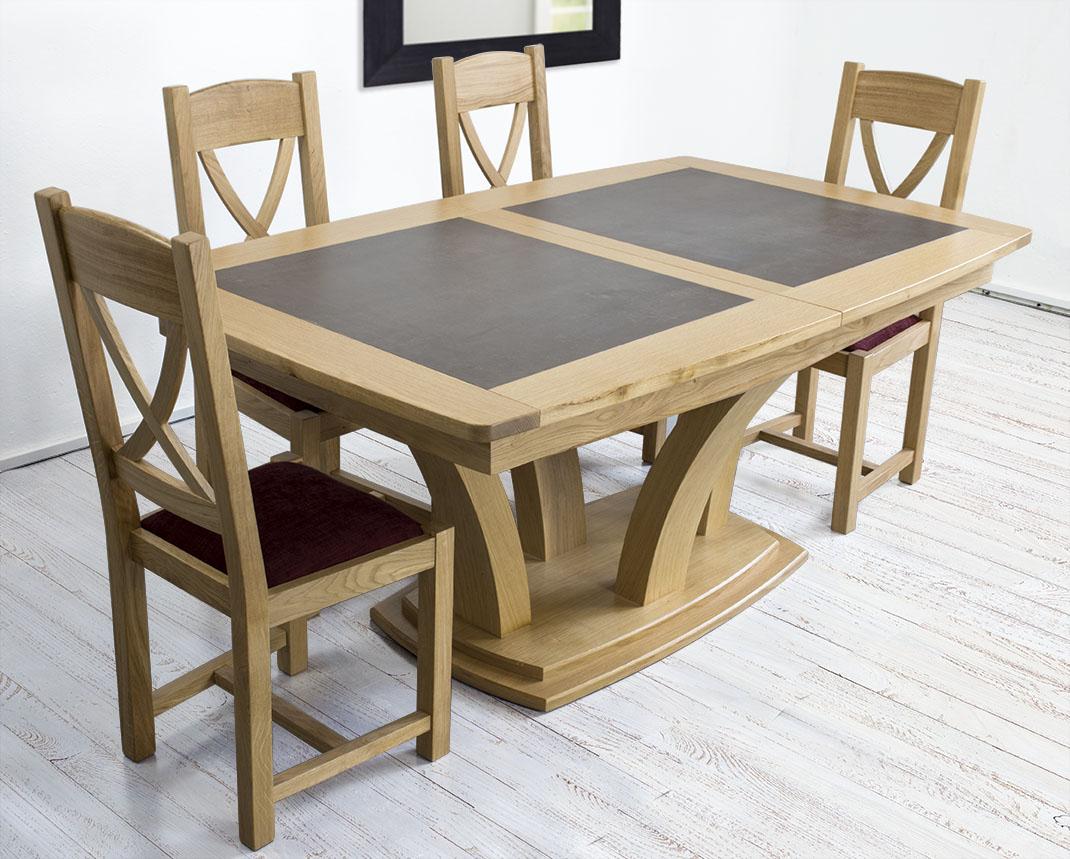 Mesa de comedor moderna de madera de roble maciza con