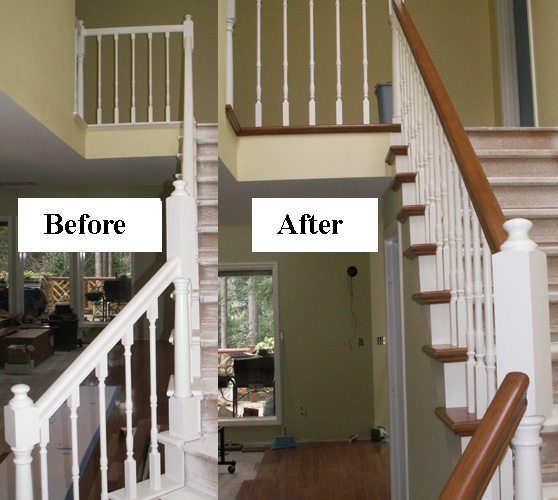 Stair Makeover Refinishing Banister Stair Parts Blog   Painted Handrails For Stairs   Modern   German Style   House   Pressure Treated   Before And After