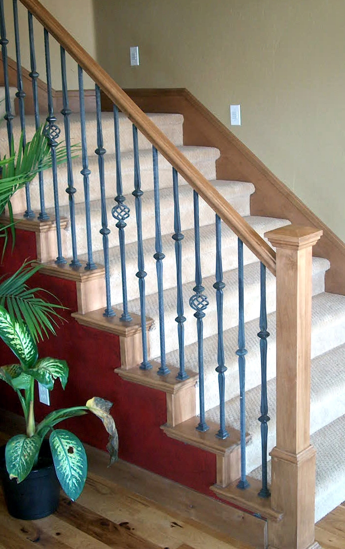 Add A Wood Handrail To Your Wrought Iron Balustrade Stair Makeover | Cast Iron Handrails For Stairs | Baluster Curved Stylish Overview Stair | 1920'S | Iron Railing | Exterior Stair | Georgian
