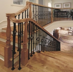 Stair Makeover – Replacing Wood Balusters With Wrought Iron Balusters | Wood Railing With Metal Spindles | Metal Stair | Decorative | Different Kind Wood | Wood Handrail | Modern